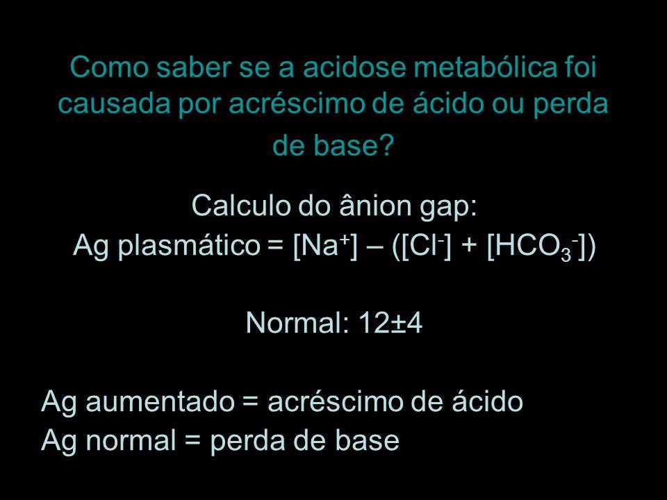 Ag plasmático = [Na+] – ([Cl-] + [HCO3-])